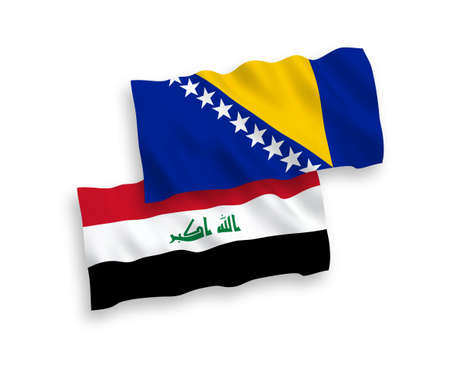 National vector fabric wave flags of Bosnia and Herzegovina and Iraq isolated on white background. 1 to 2 proportion.