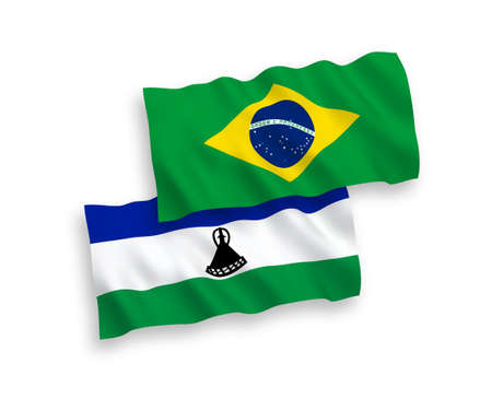 National vector fabric wave flags of Brazil and Lesotho isolated on white background. 1 to 2 proportion.