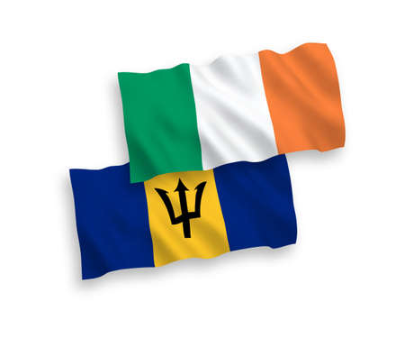 National vector fabric wave flags of Ireland and Barbados isolated on white background. 1 to 2 proportion.