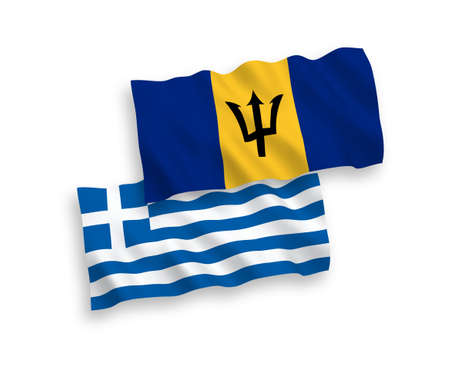 National vector fabric wave flags of Greece and Barbados isolated on white background. 1 to 2 proportion. 向量圖像