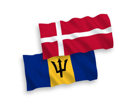 National vector fabric wave flags of Denmark and Barbados isolated on white background. 1 to 2 proportion. 向量圖像