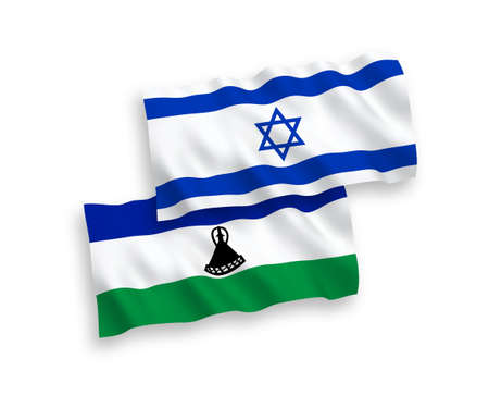 National vector fabric wave flags of Lesotho and Israel isolated on white background. 1 to 2 proportion.
