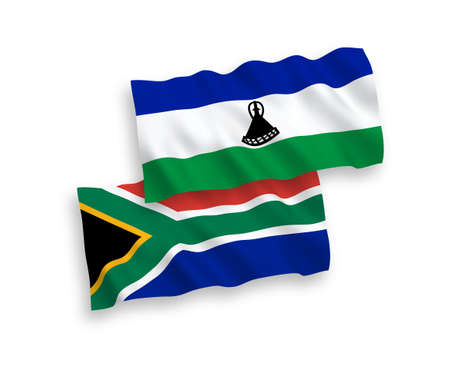 National vector fabric wave flags of Lesotho and Republic of South Africa isolated on white background. 1 to 2 proportion.