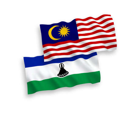 National vector fabric wave flags of Lesotho and Malaysia isolated on white background. 1 to 2 proportion.