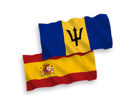 National vector fabric wave flags of Barbados and Spain isolated on white background. 1 to 2 proportion. 向量圖像