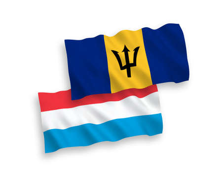 National vector fabric wave flags of Barbados and Luxembourg isolated on white background. 1 to 2 proportion.