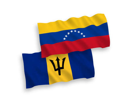 National vector fabric wave flags of Venezuela and Barbados isolated on white background. 1 to 2 proportion.