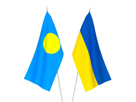 National fabric flags of Ukraine and Palau isolated on white background. 3d rendering illustration.