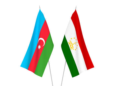 National fabric flags of Republic of Azerbaijan and Tajikistan isolated on white background. 3d rendering illustration. Foto de archivo