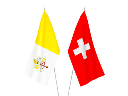 National fabric flags of Switzerland and Vatican isolated on white background. 3d rendering illustration.