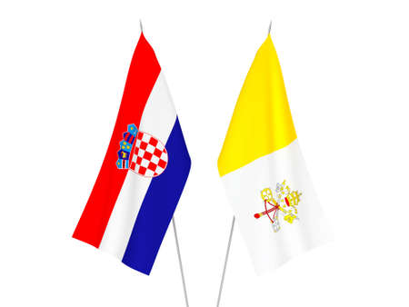 National fabric flags of Croatia and Vatican isolated on white background. 3d rendering illustration.