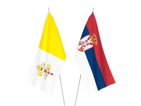 National fabric flags of Serbia and Vatican isolated on white background. 3d rendering illustration.