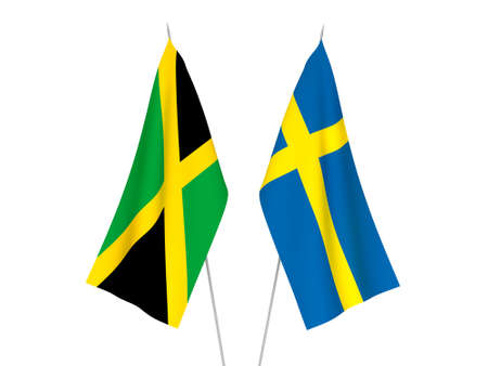 National fabric flags of Sweden and Jamaica isolated on white background. 3d rendering illustration. Foto de archivo