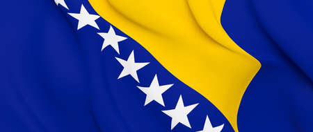 National Fabric Wave Closeup Flag of Bosnia and Herzegovina Waving in the Wind. 3d rendering illustration.