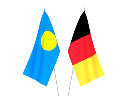 National fabric flags of Belgium and Palau isolated on white background. 3d rendering illustration.