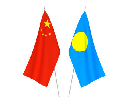 National fabric flags of China and Palau isolated on white background. 3d rendering illustration.