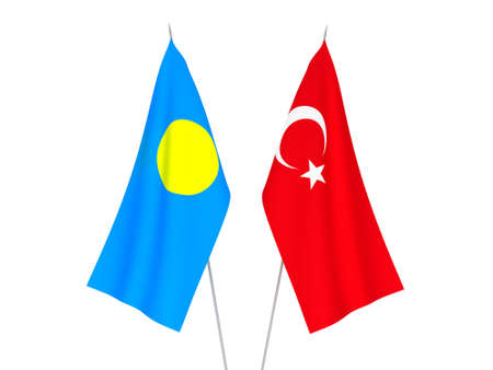 National fabric flags of Palau and Turkey isolated on white background. 3d rendering illustration. Foto de archivo