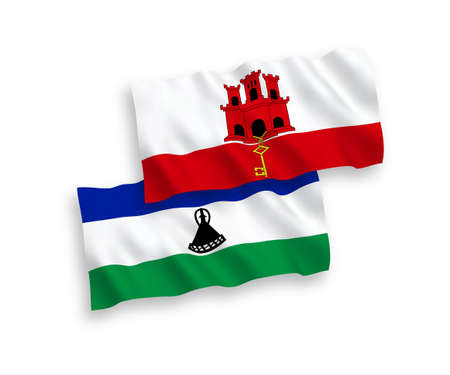 National vector fabric wave flags of Lesotho and Gibraltar isolated on white background. 1 to 2 proportion.