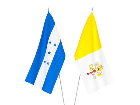 National fabric flags of Honduras and Vatican isolated on white background. 3d rendering illustration. Foto de archivo