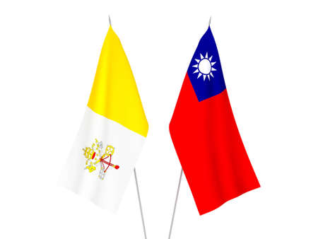 National fabric flags of Taiwan and Vatican isolated on white background. 3d rendering illustration. Foto de archivo - 157282937