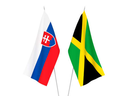 National fabric flags of Jamaica and Slovakia isolated on white background. 3d rendering illustration.