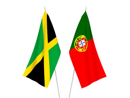 National fabric flags of Jamaica and Portugal isolated on white background. 3d rendering illustration. Foto de archivo - 157283365