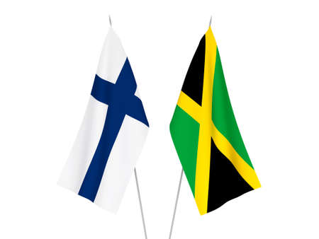 National fabric flags of Jamaica and Finland isolated on white background. 3d rendering illustration. Foto de archivo