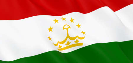 National Fabric Wave Closeup Flag of Tajikistan Waving in the Wind. 3d rendering illustration. Foto de archivo - 157287219