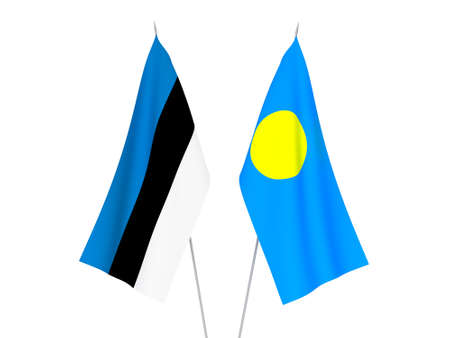 National fabric flags of Palau and Estonia isolated on white background. 3d rendering illustration. Foto de archivo - 157345770