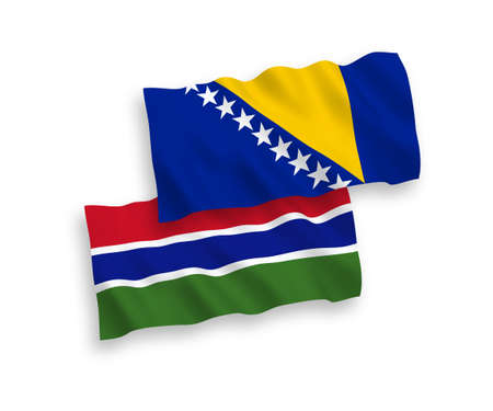 National vector fabric wave flags of Bosnia and Herzegovina and Republic of Gambia isolated on white background. 1 to 2 proportion.