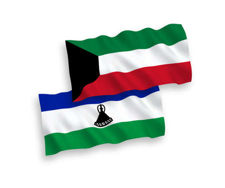 National vector fabric wave flags of Lesotho and Kuwait isolated on white background. 1 to 2 proportion. Foto de archivo - 157381730