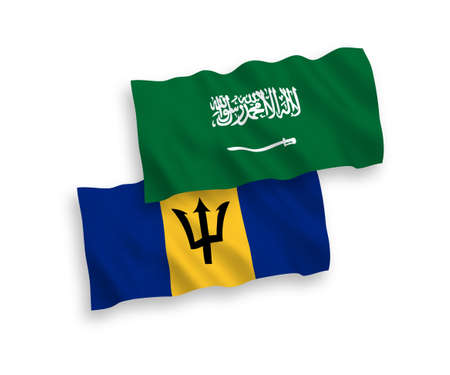 National vector fabric wave flags of Saudi Arabia and Barbados isolated on white background. 1 to 2 proportion. Vectores