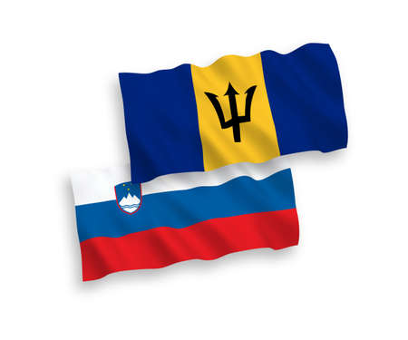 National vector fabric wave flags of Slovenia and Barbados isolated on white background. 1 to 2 proportion. Foto de archivo - 157381727