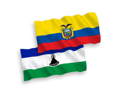 National vector fabric wave flags of Lesotho and Ecuador isolated on white background. 1 to 2 proportion.