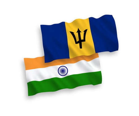 National vector fabric wave flags of India and Barbados isolated on white background. 1 to 2 proportion.