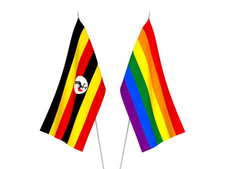 National fabric flags of Uganda and Rainbow gay pride isolated on white background. 3d rendering illustration. Foto de archivo