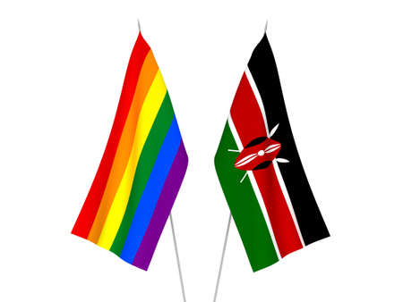 National fabric flags of Kenya and Rainbow gay pride isolated on white background. 3d rendering illustration.