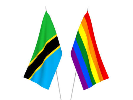 National fabric flags of Tanzania and Rainbow isolated on white background. 3d rendering illustration.
