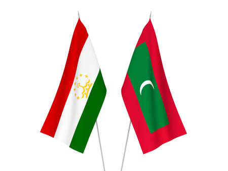 National fabric flags of Maldives and Tajikistan isolated on white background. 3d rendering illustration.
