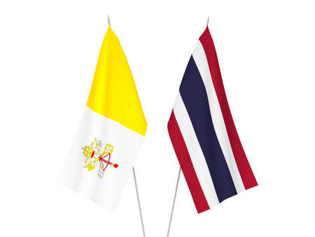 National fabric flags of Thailand and Vatican isolated on white background. 3d rendering illustration.