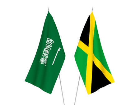 National fabric flags of Saudi Arabia and Jamaica isolated on white background. 3d rendering illustration. Foto de archivo - 157348446