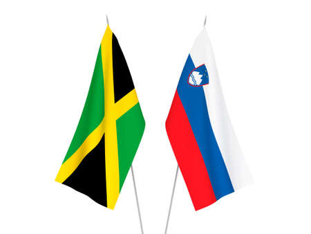 National fabric flags of Slovenia and Jamaica isolated on white background. 3d rendering illustration.