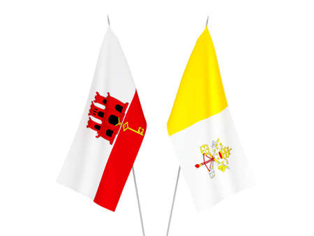National fabric flags of Gibraltar and Vatican isolated on white background. 3d rendering illustration.