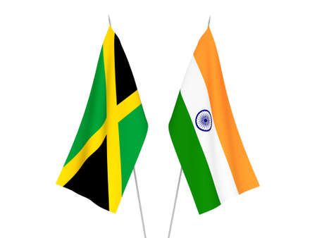 National fabric flags of India and Jamaica isolated on white background. 3d rendering illustration. Foto de archivo