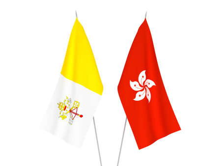 National fabric flags of Hong Kong and Vatican isolated on white background. 3d rendering illustration.