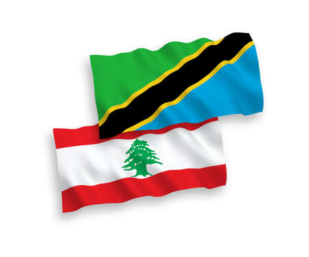 National vector fabric wave flags of Lebanon and Tanzania isolated on white background. 1 to 2 proportion.