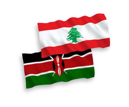 National vector fabric wave flags of Lebanon and Kenya isolated on white background. 1 to 2 proportion.