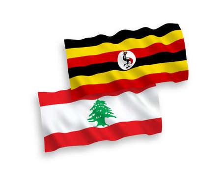 National vector fabric wave flags of Lebanon and Uganda isolated on white background. 1 to 2 proportion.