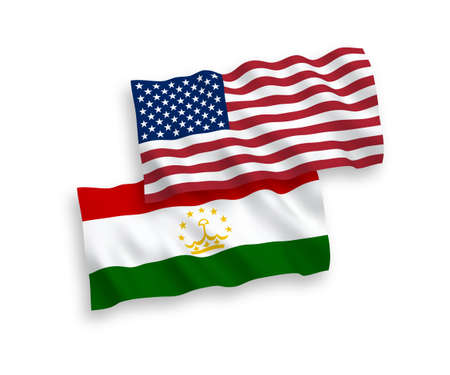 National vector fabric wave flags of Tajikistan and USA isolated on white background. 1 to 2 proportion.