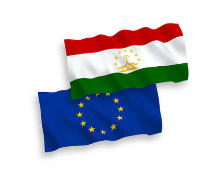 National vector fabric wave flags of European Union and Tajikistan isolated on white background. 1 to 2 proportion.